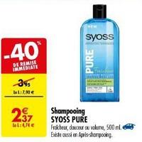 Shampoing ou Après-Shampoing Pure Syoss chez Carrefour (14/05- 27/05)