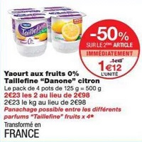 Yaourt aux fruits Taillefine chez Monoprix (22/05 – 03/06)